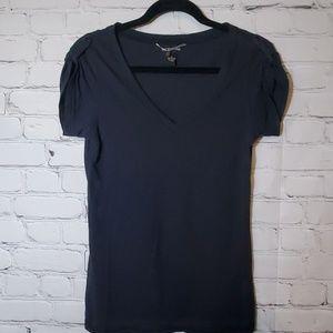 Lucky Brand Black Button Tab Short Sleeve Tshirt